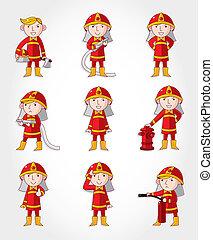 jogo, caricatura, bombeiro, ícone