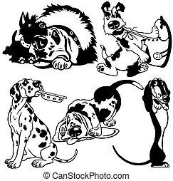 jogo, caricatura, cachorros