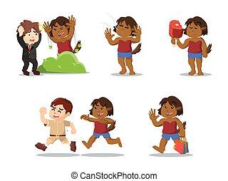 jogo, caricatura, femininas, Lobisomem