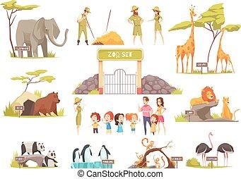 jogo, caricatura, jardim zoológico