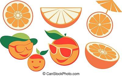 jogo, caricatura, laranjas
