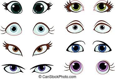 jogo, caricatura, olhos