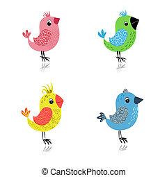 jogo, caricatura, pássaros