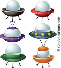 jogo, caricatura, ufo