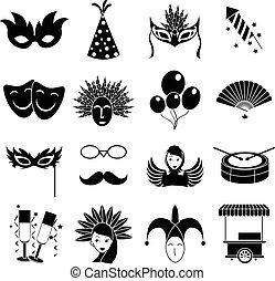 jogo, carnaval, ícones