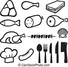 jogo, carne, ícones