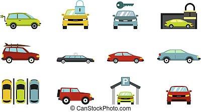 jogo, carros, estilo, ícone, apartamento