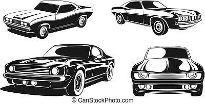 jogo, cars., ilustração, vetorial, pretas, retro, monocromático, músculo