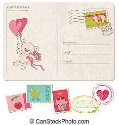 jogo, cartão postal, saudação, selos, menina bebê