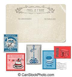 jogo, cartão postal, vindima, -, frança, paris, selos, vetorial