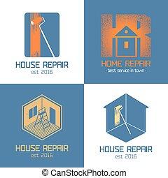 jogo, casa, símbolo, vetorial, ícone, renovação lar, reparar