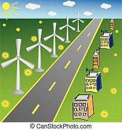 jogo, casas, carros, turbinas, meio, cinco, vento, vário, estrada