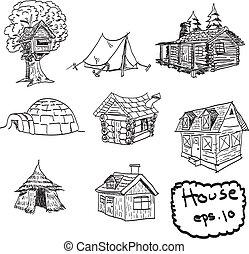 jogo, casas, mão, vetorial, desenhado, doodles