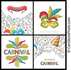 jogo, celebração, festivo, bandeiras, para, feliz, carnaval
