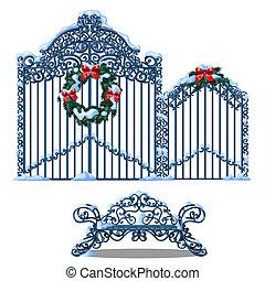 jogo, cerca, grinalda, isolado, forjado, fita, abeto, neve, experiência., portão, branco vermelho, elementos, coberto, decorado, caricatura, close-up, ramos, illustration., metal, arco, vetorial