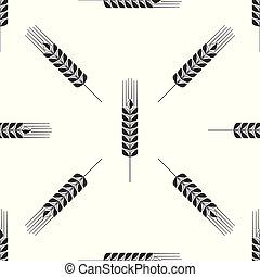 jogo, cereais, agricultura, design., symbols., trigo, seamless, experiência., cevada, branca, ícone, aveia, apartamento, milho, trigo, símbolo., ilustração, centeio, arroz, pão, vetorial, padrão, orelhas