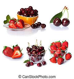 jogo, cereja, isolado, moranguinho, berries., branca