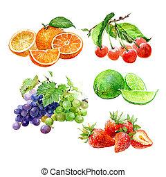 jogo, cereja, laranja, uva, isolado, aquarela, moranguinho, frutas, lima, limão