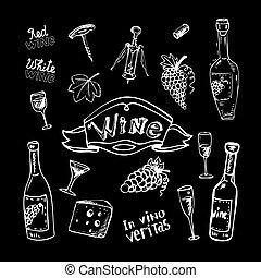 jogo, chalkboard, vinho