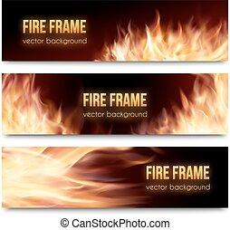 jogo, chamas, fogo, realístico, vetorial, bandeiras