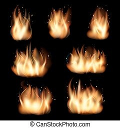 jogo, chamas, fogo, vetorial, experiência preta