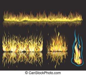 jogo, chamas, queimadura, fogo, ilustração, experiência., vetorial, pretas