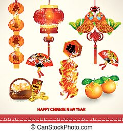 jogo, chinês, decoração, ano, novo, feliz