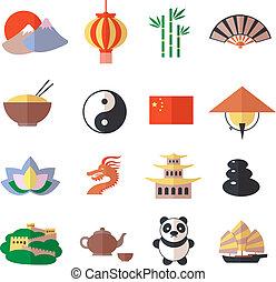 jogo, china, ícones
