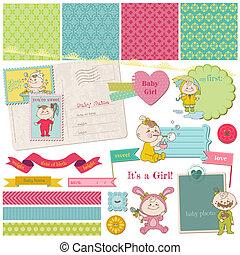 jogo, -, chuveiro, vetorial, desenho, bebê, scrapbook, menina, elementos