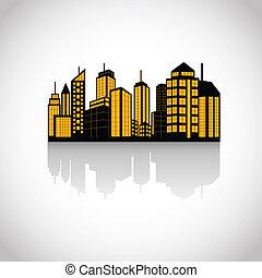 jogo, cidades, silueta