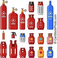 jogo, cilindros, gaz, propane, gás, tank., petróleo, metal,...
