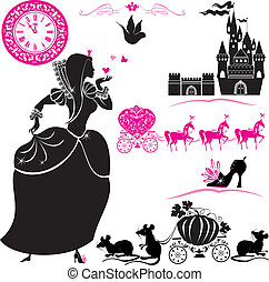 jogo, cinderela, fairytale, -, silhuetas, clock., carruagem, mouses, castelo, abóbora