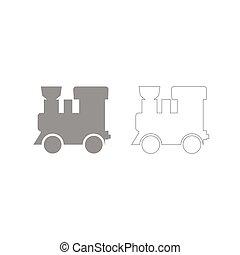 jogo, -, cinzento, locomotiva, trem, vapor, ícone