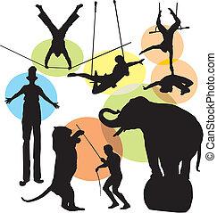 jogo, circo, silhuetas