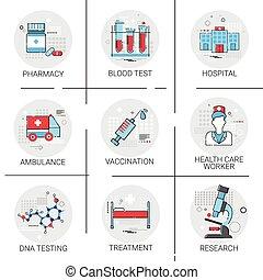 jogo, clínica médica, tratamento, doutores, hospitalar, ícone