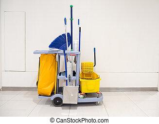 jogo, cleaning.bucket, escritório, carreta, equipamento,...