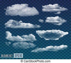 jogo, clouds., realístico, vetorial, noturna, transparente