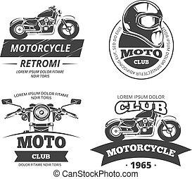 jogo, clube, etiquetas, vetorial, retro, motor