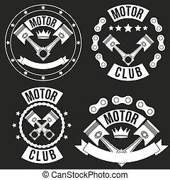 jogo, clube, vindima, etiqueta, motor, sinais