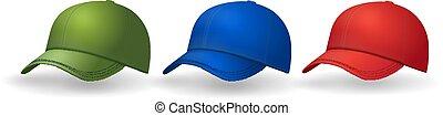 jogo, cobrança, bonés, realístico, chapéu beisebol