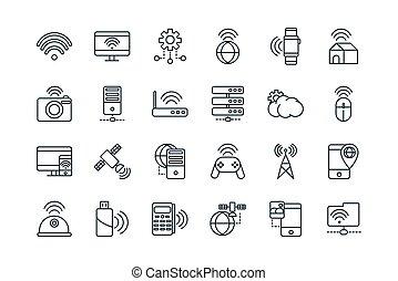 jogo, coisas, ícones internet, linha