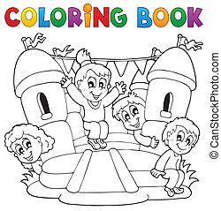 jogo, coloração, crianças, tema, livro, 5