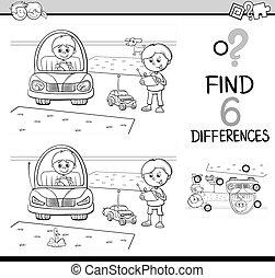 jogo, coloração, diferenças, página