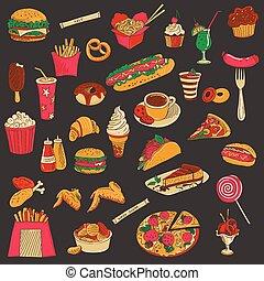 jogo, colorido, alimento, rapidamente, mão, desenhado, ícone