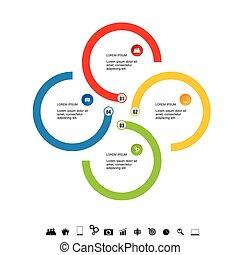 jogo, colorido, ilustração, infographic, círculo, ícone