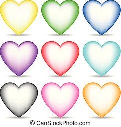 jogo, colorido, jogo, isolado, seu, branca, vetorial, fundo, corações, illustration., 3d, desenho, card.