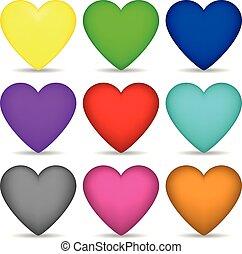 jogo, colorido, jogo, isolado, seu, vetorial, card., fundo, corações, branca, desenho, illustration.