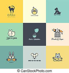 jogo, coloridos, ícones animais