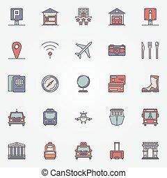 jogo, coloridos, ícones, viagem, viajando, ou