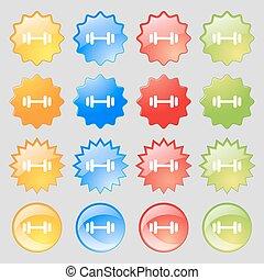 jogo, coloridos, 16, grande, sinal., modernos, barbell, botões, vetorial, ícone, seu, design.